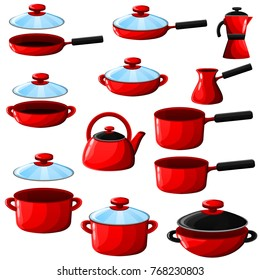 Set of kitchenware(pan, pot, wok, sauce pan, kettle, ibrik) isolated on white background