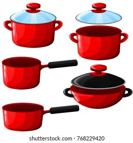 Set of kitchenware(pot, wok, sauce pan) isolated on white background
