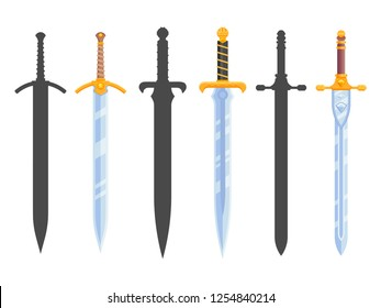 Set of knight swords isolated on white background. Swords in flat style and silhouettes. Vector illustration