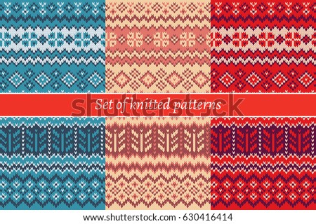 Set Knitted Patterns Stock Vector Royalty Free 630416414