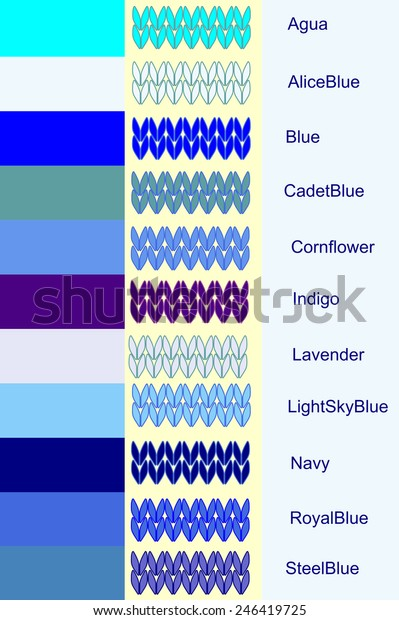Set Knitted Stripes Blue Color Palette Stock Vector Royalty Free 246419725