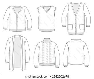 Set of knitted sweaters, vests and cardigans fashion stylish warm hoodie collection template, fill in the blank sweater tops various styles long sleeve