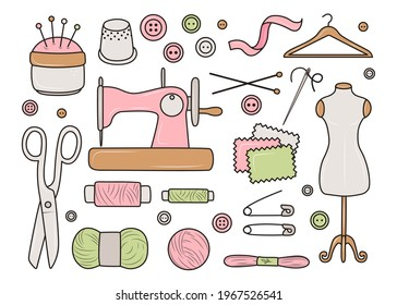 A set of knitting and sewing tools, hand-drawn pictures in doodle style. Delicate items, collection of sewing tools. Decorative background, good for printing. Design background