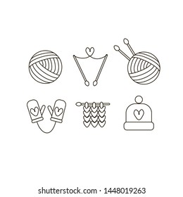 Set of knitting Vector Line Icons. Knitting ball, needles, hat, Mittens, knitted loops. Black outline.