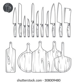 set of knives and cutting boards