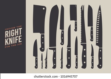 Set of knives. Kitchen accessories isolated on light background. Chef's knife, santoku, bread knife, meat cleaver, chinese shopper, steak and butcher knife. Vector illustration.