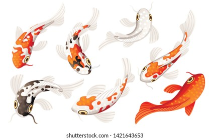 Set of Koi carp japanese symbol of luck fortune prosperity red and black dotted koi carp cartoon flat vector illustration isolated on white background