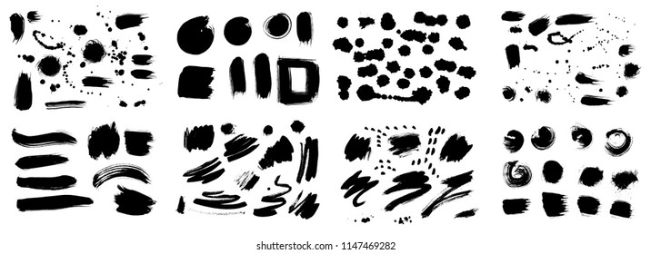 Set of Korean, Chinese, Japanese ink brush strokes, blots, sprinkles, dabs and daubs. Collection of grungy Oriental design elements for your design in vector