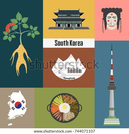 Set Korean National Symbols Vector Illustration Stock Vector