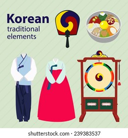 Set of Korean traditional elements. Korean traditional clothes, drums, food,fan. Korean hanbok and bibimbap