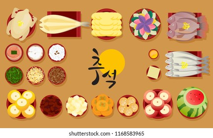 "Set of Korean traditional food for Chuseok or Hangawi(Thanksgiving Day), Vector illustration. Korean translation ; "" Chuseok """
