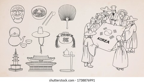 Set of Korean traditional objects. People wearing Korean traditional clothes(Hanbok). Vector illustration.