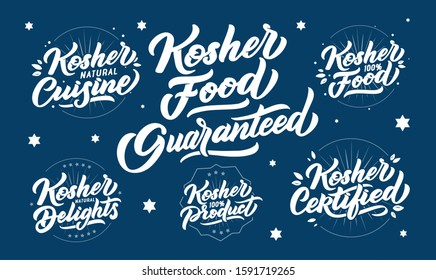 Set of kosher food logos, stamps, lettering phrases. Vector illustration collection. Handwritten compositions. Blue design for labels, badges, stickers, emblems, logotypes
