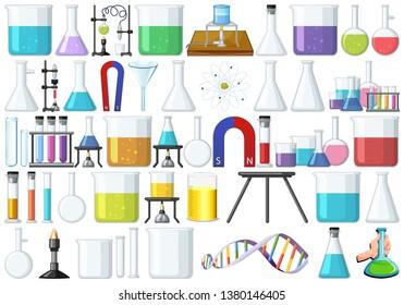 Set of lab tools illustration
