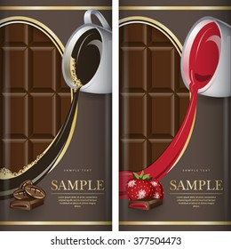 Set of label for dark chocolate with coffee and with strawberry. Grouped for easy editing.