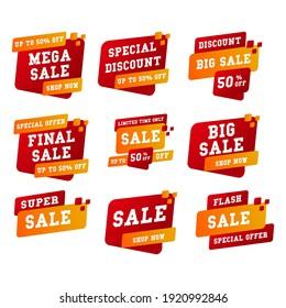 Set Label sale ad promo, shopping concept
