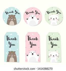 Set of Label Tags with animals  character design. Thank you tags for wedding, birthday, baby shower, label, printable tags or party invitations. Cute Tags on Pastel heart pattern background.