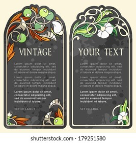 set of labels in the Art Nouveau style (series)