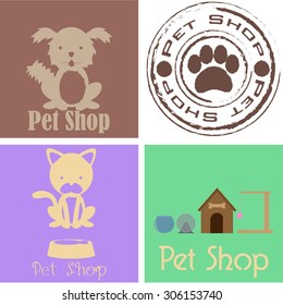 Set of labels and backgrounds with text and pet elements. Vector illustration