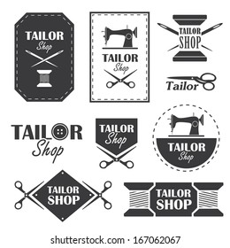 Set of labels, badges and signs for tailor shop in vector