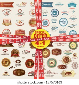 Set of labels, banners, stickers, badges and elements for food and drink. Special offer 4 in 1 package.