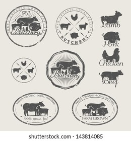 A set of labels for butchery. Icons of beef, pork, lamb and chicken