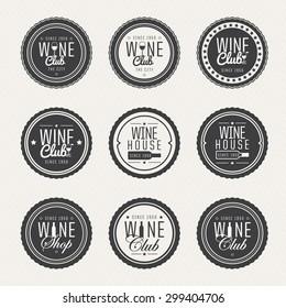 Set of labels for club, wine shop and wine bar. Elegant circular symbols. vector