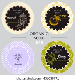 Set of labels with coconut,lime,lavender,orange.Set of patterns, labels and logo design templates for hand made organic soap packaging.