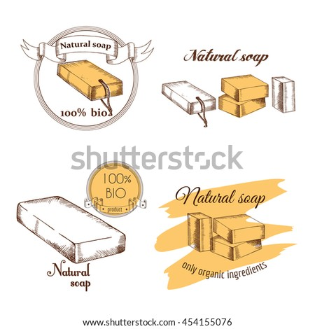 Set Labels Decoration Handmade Soap Natural Stock Vector Royalty