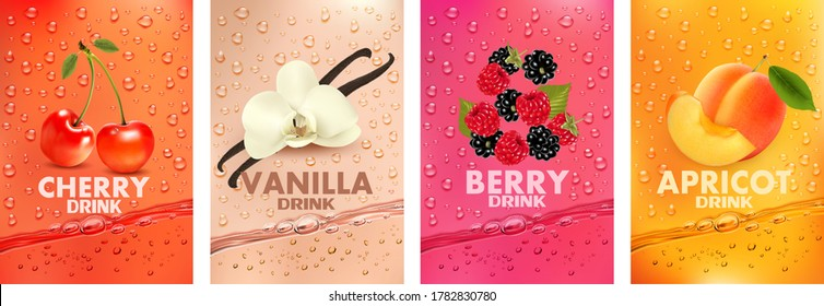 Set of labels with fruit and berry  drink. Fresh fruits juice splashing together- cherry, vanilla, raspberry, blackberry, apricot juice drink splashing. 3d fresh fruits. Vector illustration