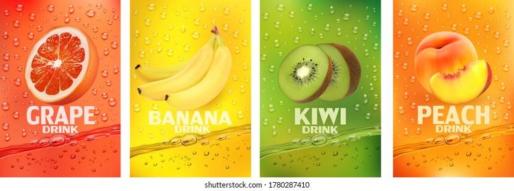 Set of labels with fruit drink.Fresh fruits juice splashing together- banana, kiwi, peach, grapefruit juice drink splashing. 3d fresh fruits. Vector illustration