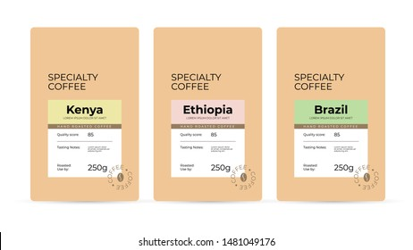 Set of labels for hand roasted Specialty Coffee. Branding and packaging design for coffee beans. Modern design concept of emblem, sticker, logo brand. Isolated template  for pack, advertisement, print