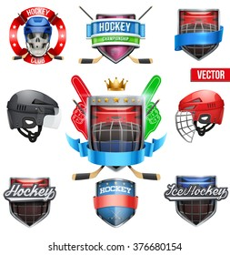 Set of Labels for ice hockey sports. Bright premium quality design. Editable Vector Illustration.