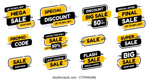Set labels with inscription sale. Vector flat illustrations. Ad or promo. Shopping concept. Promotion price label mega sale, shop now, special discount, big sale, limited time only, last chance.
