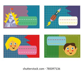 Set of labels for kid's stationery, funny retro design. Vector graphic illustration