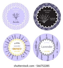 Set of labels with lavender flowers.Set of patterns, labels and logo design templates for hand made organic soap, honey packaging