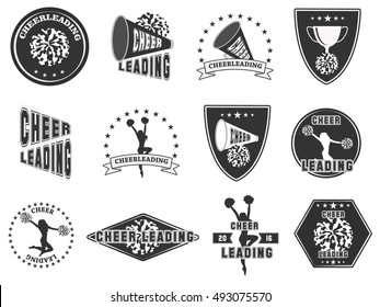 Set of labels, logos for cheerleading. Vector illustration