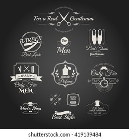 Set of labels for men clothing and accessories. Gentleman logos. Vintage barber shop logo, badges and elements. Icons for your design.