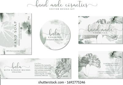 Set of labels for Natural hand made herbal cosmetics. Elegant branding design collection for organic cosmetics, Pharmacy, handmade products, medicine, skin care