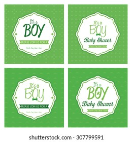 Set of labels on textured backgrounds for baby showers. Vector illustration