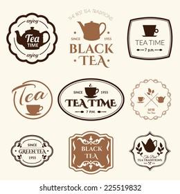 Set of labels on theme tea. Tradition of teatime. Tea logo.