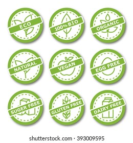 Set of labels for organic, natural, bio and allergen free products