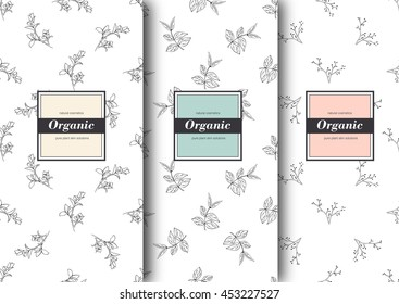 Set of labels, packaging for organic shop or natural cosmetics. Vector floral patterns Pattern for packing product.