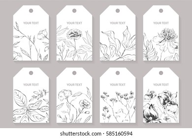 Set of labels, posters, greeting cards with the image of wild flowers and plants.