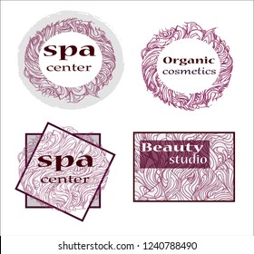 set of labels, stickers or logos for advertising of the spa center, organic products, beauty salon and healthy lifestyle, vector design with an ornament painted by hand, isolated on white background
