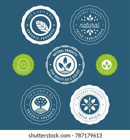 Set of labels and stickers for organic food and drink, and natural products. Vector illustration concepts for web design, packaging design, promotional material.