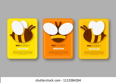 Set of labels or stickers with paper cut style bee. Template design for beekeeping and honey product. Yellow and orange background, vector illustration.