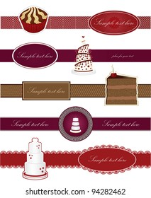 Set labels with sweet cakes vector