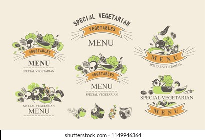 Set of labels with vegetarian and raw food diets, organic food, design elements of restaraan cafe packing organic products, detox drinks logo