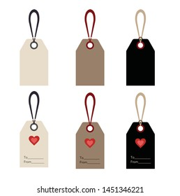 Set of Labels, white, cardboard and blackboard: Blank and as a gift tag for a present for your loved.